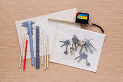 Set of measuring tools on wooden background royalty free stock photo