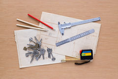 Set of measuring tools on wooden background stock photography