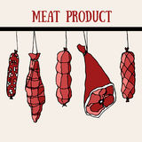 Set of meat product. Food. Hand drawn. Bacon, sausage. Set of meat product. Food. Hand drawn. Background for textile, fabric, restaurant, meat shop royalty free illustration
