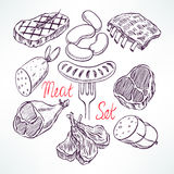 Set of meat products. Set of appetizing meat products. hand-drawn illustration Royalty Free Stock Photo