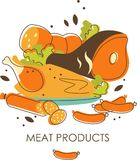 Set of meat products Stock Photos