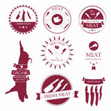 Set of meat shop labels and design elements Stock Photos
