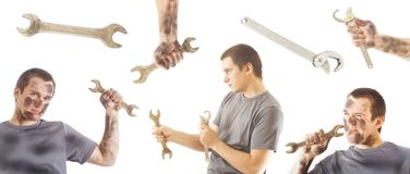 Set of mechanic man and wrench tool Royalty Free Stock Photos