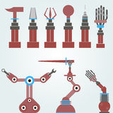 Set of mechanical arms, robots Royalty Free Stock Images
