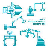 Set of mechanical robots Stock Photo