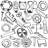 Set of mechanical spare parts and tools - kids drawing Stock Image