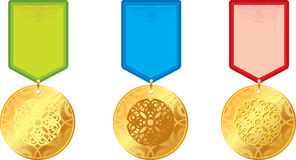 Set medal. Set of gold medals with ornament Stock Image