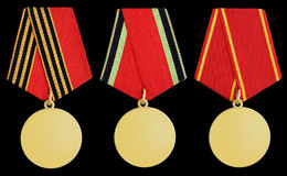 Set of medal on black Royalty Free Stock Images
