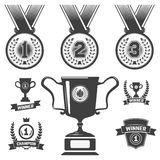 Set of medal icons, trophy, first place icons. Design elements in vector Royalty Free Stock Image
