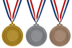 Set of medals. On white background Stock Photography