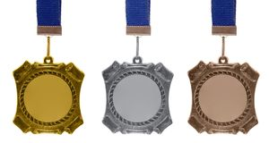 Set of medals. Isolated on white Stock Photos