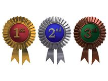 Set of medals. Set of gold, silver and bronze medals on white background stock image