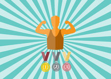 Set of medals and athlete silhouette , Vector illustrations. Set of medals and athlete silhouette Royalty Free Stock Photo
