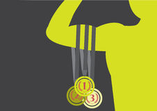 Set of medals on athlete silhouette , Vector illustrations. Set of medals on athlete silhouette Stock Images