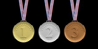 Set of medals on black background. 3d illustration Royalty Free Stock Photo