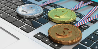 Set of medals on a computer keyboard. 3d illustration Stock Photo