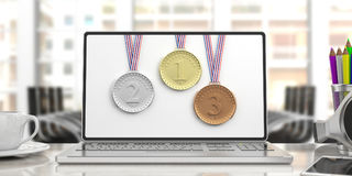 Set of medals on a computer screen. 3d illustration Stock Images