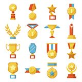Set of medals and cups, awards. Golden sport trophies. Vector collection of icons and symbols. Set of medals and cups, awards. Golden sport trophies Stock Image