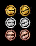 Set of Medals. Gold Medal. Silver Medal. Bronze Medal Royalty Free Stock Image