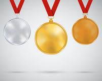 Set of medals, gold, silver and bronze Royalty Free Stock Image