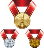 Set of medals, gold silver and bronze, on ribbons royalty free illustration