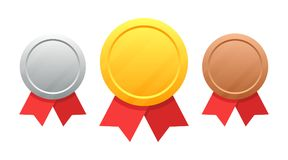 Set of medals gold, silver, bronze vector illustration isolated on white stock illustration