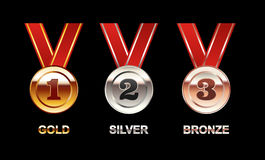 Set of Medals illustration. Gold Medal. Silver Medal. Bronze Medal. Polish medal with red ribbon. Bright medals Royalty Free Stock Image
