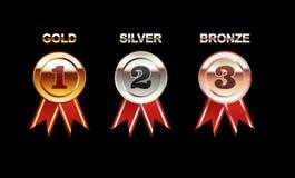 Set of Medals illustration. Gold Medal. Silver Medal. Bronze Medal. Polish medal with red ribbon. Bright medal Stock Photos