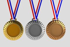 Set of medals isolated on white Stock Photos
