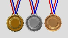 Set of medals isolated on white Royalty Free Stock Image