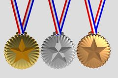 Set of medals isolated on white Stock Images