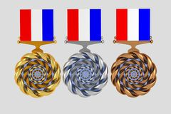 Set of medals isolated on white Royalty Free Stock Photography