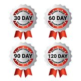 Set Of Medals Money Back Guarantee Template Labels With Ribbon Stickers Collection Isolated. Vector Illustration stock illustration