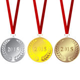 Set of 2015 medals. Over white background Royalty Free Stock Image