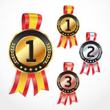Set of Medals with ribbon. Stock Photo