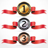 Set of Medals with ribbon. Stock Photos