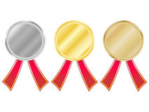 Set of medals with ribbons. Place. (1, 2, 3, place Stock Image