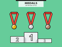 Set from medals and a sports pedestal Stock Photos