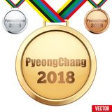Set of medals with text PyeongChang 2018. Sport Games in South Korea. Vector Illustration  on white background Royalty Free Stock Images