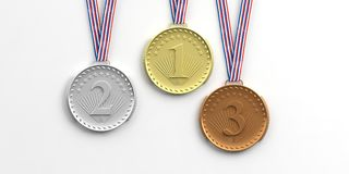 Set of medals on white background. 3d illustration Royalty Free Stock Photo