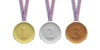 Set of medals on white background. 3d illustration Royalty Free Stock Photography