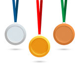 Set of medals. A set of medals on a white background. Gold, silver, bronze medals. Vector illustration Vector Illustration