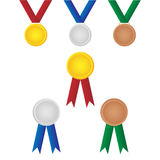 Set of medals winner. Set of six colorful medals winner isolated on white background.EPS file available Stock Photo