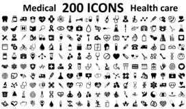 Set 200 Medecine and Health flat icons. Collection health care medical sign icons. – vector stock illustration