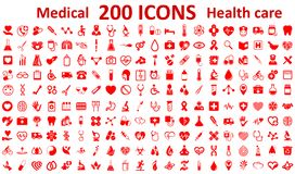 Set 200 Medecine and Health flat icons. Collection health care medical sign icons - vector. Set 200 Medecine and Health flat icons. Collection health care stock illustration
