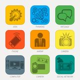 Set of media communication and hipster elements Royalty Free Stock Photo