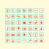 Set of Media Computer Square Icons Stock Photos