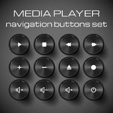Set of media control buttons. Vector illustration Stock Images