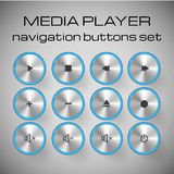 Set of media control buttons. Vector illustration Stock Photography