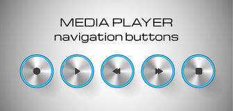 Set of media control buttons. Royalty Free Stock Image